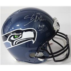 """Shaun Alexander Signed Seahawks Authentic On-Field Full-Size Speed Helmet Inscribed """"MVP 05"""" (Becket"""