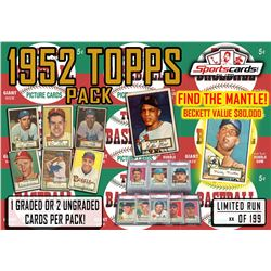 """""""1952 TOPPS BASEBALL PACK"""" - Mystery Box - 1 or 2 CARDS PER PACK MANTLE / MAYS!"""
