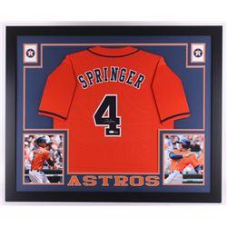 George Springer Signed Astros 35x43 Custom Framed Jersey (JSA Hologram  GTSM Hologram)