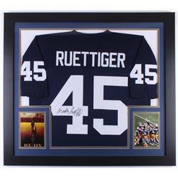 Rudy Ruettiger Signed Notre Dame Fighting Irish 31x35 Custom Framed Jersey (JSA COA)