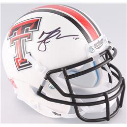 Michael Crabtree Signed Texas Tech Mini-Helmet (JSA COA)