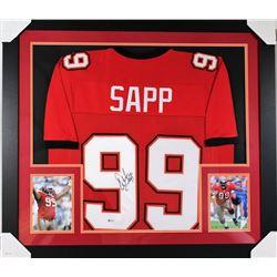 Warren Sapp Signed Buccaneers 31x35 Custom Framed Jersey (Beckett COA)
