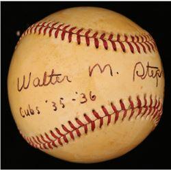 "Walter Stephenson Signed ONL Baseball Inscribed ""Phillies 37-38""  ""Cubs 35-36"" (JSA COA)"