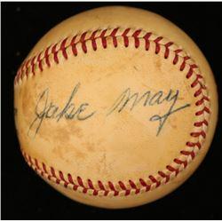 Jakie May Signed ONL Baseball (JSA COA)