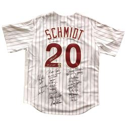 1980 Phillies Cooperstown Collection Jersey Team-Signed by (24) with Mike Schmidt, Steve Carlton, Sp