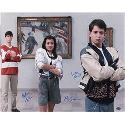 "Matthew Broderick, Mia Sara,  Alan Ruck Signed ""Ferris Bueller's Day Off"" 16x20 Photo (Schwartz COA)"
