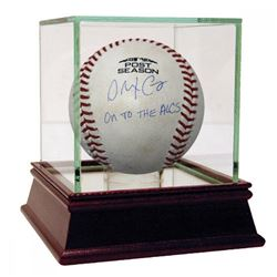 """Alex Cora Signed Game-Used 2018 Postseason Baseball Inscribed """"On to the ALCS"""" with High Quality Dis"""