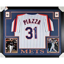 Mike Piazza Signed New York Mets 35x43 Custom Framed Jersey (PSA COA)