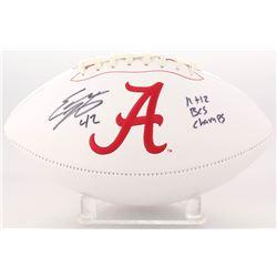 "Eddie Lacy Signed Alabama Crimson Tide Logo Football Inscribed ""11 + 12 BCS Champs"" (JSA COA)"