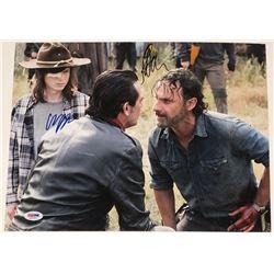 "Jeffrey Dean Morgan  Chandler Riggs Signed ""The Walking Dead"" 11x14 Photo (PSA COA)"
