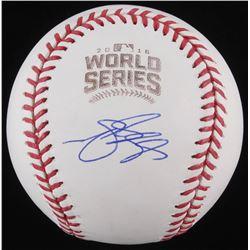 Matt Szczur Signed 2016 World Series Logo Baseball (Schwartz COA)