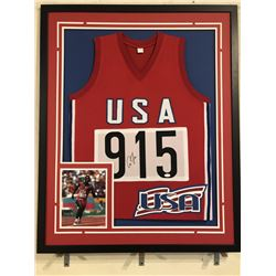 Carl Lewis Signed Team USA 34x42 Custom Framed Jersey (JSA COA)