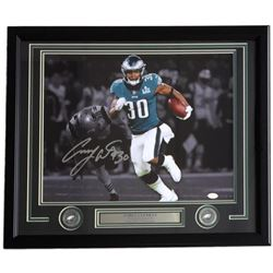 Corey Clement Signed Philadelphia Eagles 22x27 Custom Framed Photo Display (JSA COA)