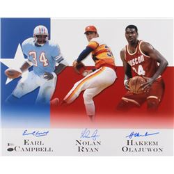 Earl Campbell, Nolan Ryan,  Hakeem Olajuwon Signed 16x20 Photo (Beckett COA  Ryan Hologram)