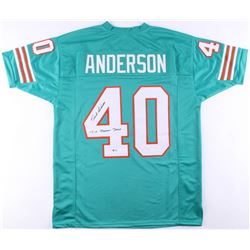 "Dick Anderson Signed Dolphins Jersey Inscribed ""17-0 Perfect Season"" (Beckett COA)"