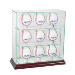 Premium 7-9 Baseball Upright Glass Display Case with Mirrored Cherry Wood Base (New)