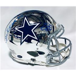 Ezekiel Elliott  Emmitt Smith Signed Cowboys Chrome Full-Size Authentic On-Field Helmet (Beckett COA