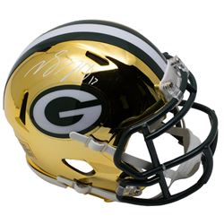 Davante Adams Signed Packers Riddell Chrome Mini Speed Helmet (JSA COA)