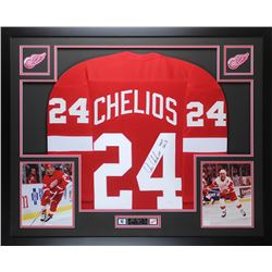 Chris Chelios Signed Redwings 35x43 Custom Framed Jersey (JSA COA)
