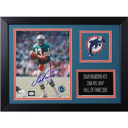 Dan Marino Signed Dolphins 14x18.5 Custom Framed Photo Display (JSA COA)