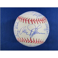 1986 Mets OML Baseball Team-Signed by (28) with Davey Johnson, Kevin Elster, Jesse Orosco, Darryl St