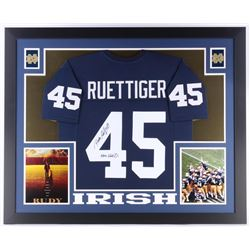 "Rudy Ruettiger Signed Notre Dame Fighting Irish 35x43 Custom Framed Jersey Inscribed ""Never Quit"" (J"