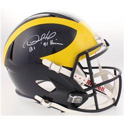 "Desmond Howard Signed Michigan Wolverines Full-Size Speed Helmet Inscribed ""Heisman '91"" (Radtke COA"
