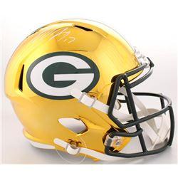 Davante Adams Signed Packers Full-Size Chrome Speed Helmet (JSA COA)