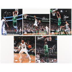 Lot of (5) Celtics 8x10 Signed Photos with Terry Rozier, Al Horford, Jayson Tatum, Jaylen Brown  Mar