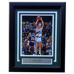 Larry Bird Signed Celtics 11x14 Custom Framed Photo Display (Beckett COA)