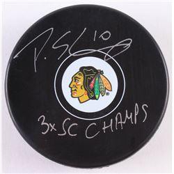 "Patrick Sharp Signed Blackhawks Logo Hockey Puck Inscribed ""3x SC Champs"" (Beckett COA)"