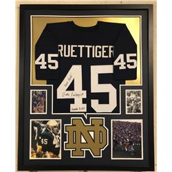 "Rudy Ruettiger Signed Notre Dame Fighting Irish 34x42 Custom Framed Jersey Inscribed ""Never Quit""  """