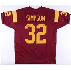 O.J. Simpson Signed USC Trojans Jersey Inscribed  Heisman 68'  (JSA COA)