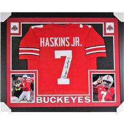 Dwayne Haskins Signed Ohio State Buckeyes 35x43 Custom Framed Jersey (JSA COA)