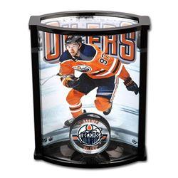 Connor McDavid Signed Oilers Acrylic Puck With Custom Acrylic Curve Display Case (UDA COA)