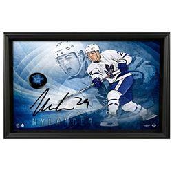 William Nylander Signed Maple Leafs 22x30 Custom Framed Limited Edition Photo  Hockey Puck Breaking