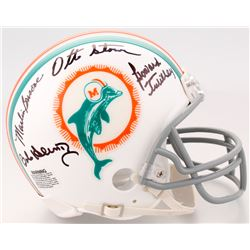 1972 Miami Dolphins Mini Helmet Team-Signed by (9) with Otto Stowe, Bob Heinz, Larry Ball, Karl Noon