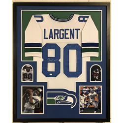 "Steve Largent Signed Seahawks 34x42 Custom Framed Jersey Inscribed ""HOF 95"" (JSA COA)"