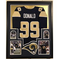 Aaron Donald Signed Rams 34x42 Custom Framed Jersey Display (JSA COA)