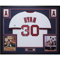 Nolan Ryan Signed Angels 35x43 Custom Framed Jersey Display (Beckett COA  Ryan Hologram)
