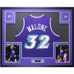 Karl Malone Signed Jazz 35x43 Custom Framed Jersey Display (Beckett COA)