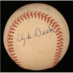 Clyde Beck Signed ONL Baseball (JSA COA)