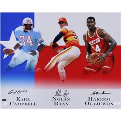 Hakeem Olajuwon, Nolan Ryan  Earl Campbell Signed 16x20 Photo (JSA COA  Ryan Hologram)
