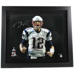 "Tom Brady Signed Patriots LE ""Super Bowl 49 Touch Down Scream"" 27x31 Custom Framed Photo (Steiner CO"