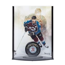 Joe Sakic Signed LE 20th Anniversary Avalanche Puck with Captain Photo Curve Display (UDA COA)