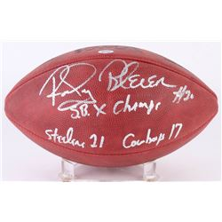 """Rocky Bleier Signed Official Super Bowl X Logo Football Inscribed """"SB X Champs""""  """"Steelers 21 Cowboy"""