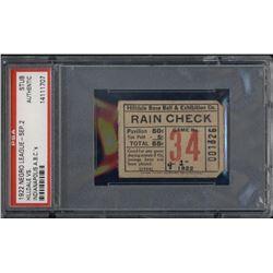 1922 Hilldale vs. Indianapolis ABC's Negro League Baseball Ticket Stub (PSA Encapsulated)