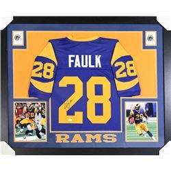 Marshall Faulk Signed St. Louis Rams 35x43 Custom Framed Jersey (JSA COA)
