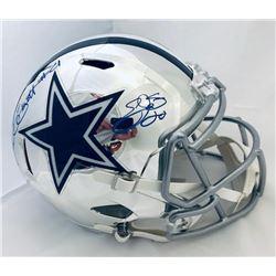 Ezekiel Elliott  Emmitt Smith Signed Cowboys Full-Size Chrome Speed Helmet (Beckett COA  Prova Holog