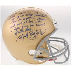 "Rudy Ruettiger Signed Notre Dame Fighting Irish Full-Size Helmet with Hand-Drawn Play Inscribed ""The"